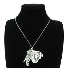 "3-2 Silver Alloy Animal Big Ear Elephant Pendant Short Chain Collar Necklace 18"""