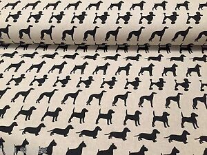 Black Dogs Curtain Upholstery Cotton Fabric Dog Print Material 55