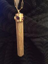Bass & Bride Tassle Necklace, Gold Filled w Amethyst Stones
