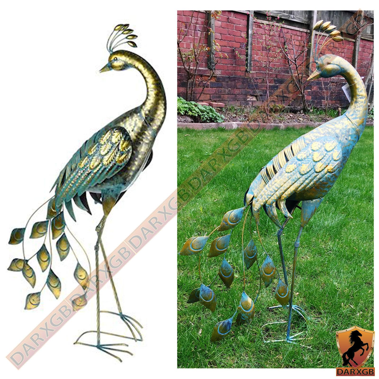 BELLISSIMO realizzato in metallo pavone antico design esterno giardino Ornamento Scultura