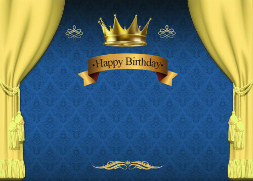 Royal Blue Prince Happy Birthday Backdrop Golden Crown Blue Curtain Background