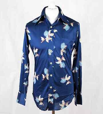 Amichevole Vintage Carisma Da Townline Anni'70 Camicia A Maniche Lunghe Blu Taglia M 193 G-mostra Il Titolo Originale Materiali Di Alta Qualità