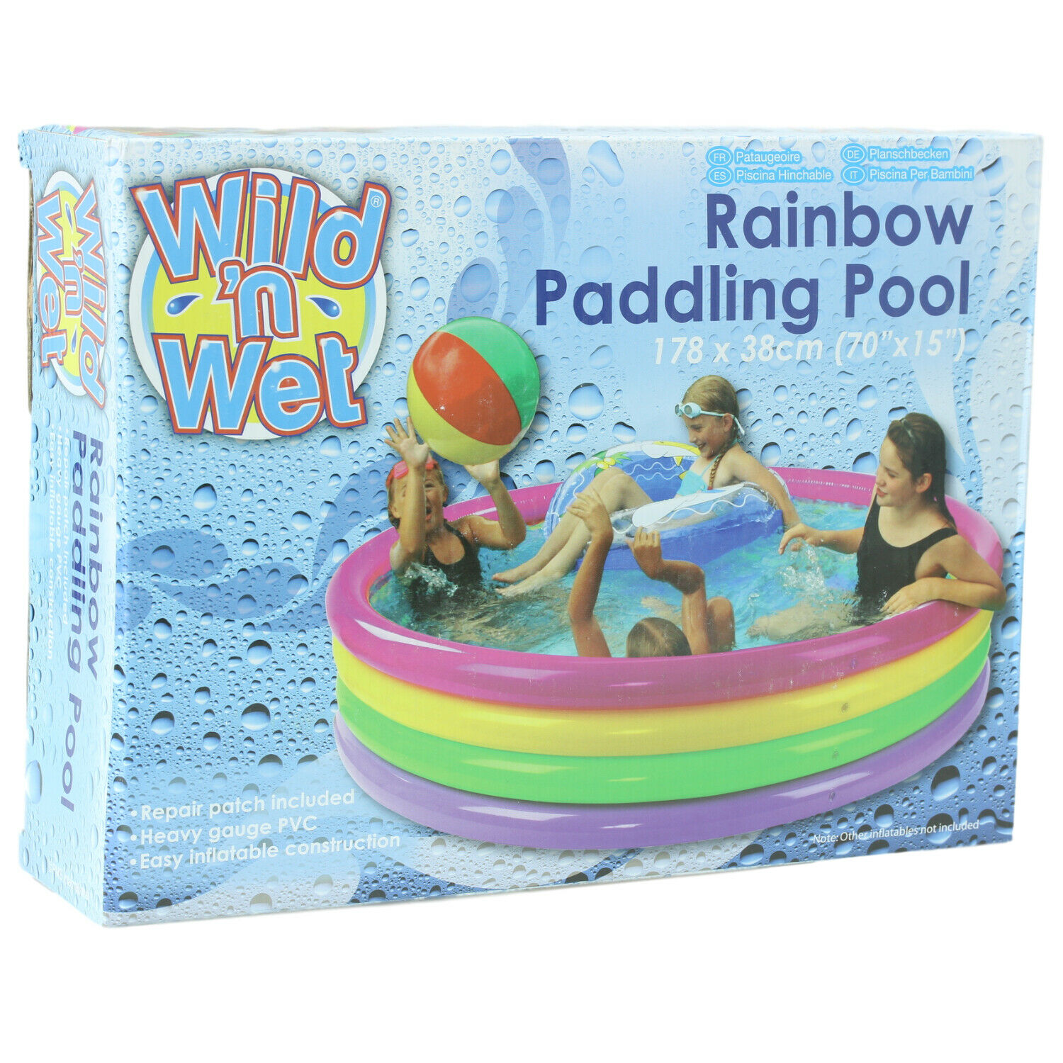 70 x 14 Inch Giant 4 Ring Rainbow Inflatable Swimming Summer Kids Paddling Pool