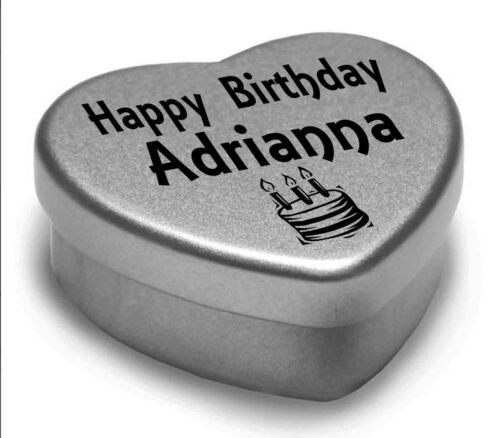 Happy Birthday Adrianna Mini Heart Tin Gift Present For Adrianna WIth Chocolates