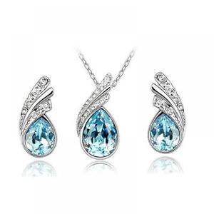 Wedding-Rhinestone-Bridal-Pendant-Women-039-s-Necklace-Earring-Water-Drop-Crystal