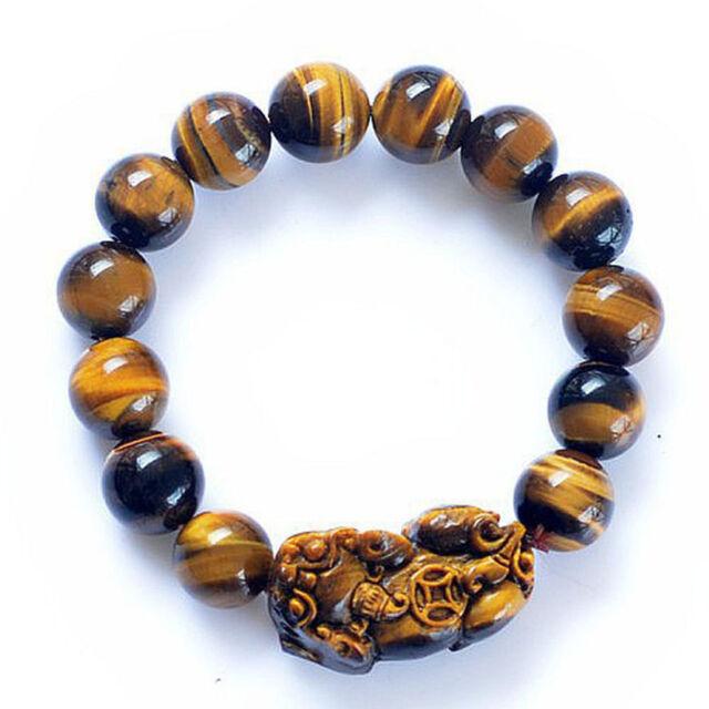 5a Tiger S Eye Beads Pi Yao Xiu Feng Shui Bracelet With Certification 14mm