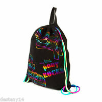 My Little Pony Rocks Drawstring Bag Multicolored Rainbow Neon Metallic Outline