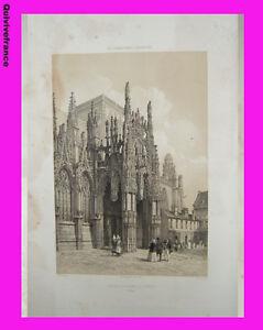 Litho-034-La-Normandie-illustree-034-Eglise-de-Louviers-Eure-Felix-BENOIST