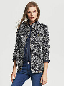 Nwt Field Black print Belted white Floral Banana Republic Color Women's Jacket fxaCqfr7wn