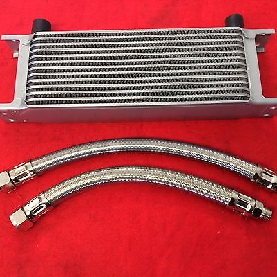 CLASSIC MINI 10 ROW OIL COOLER /& PAIR OF BRAIDED STAINLESS STEEL HOSES KIT