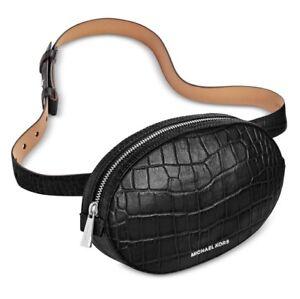 4b6b89a35879 NWT! Michael Kors Belt Bag Fanny Pack Embossed Leather Black Sz S M ...