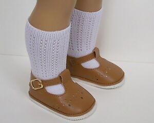 """Debs BURGUNDY T-Strap Tstrap Doll SHOES /& Knee SOCKS For 18/"""" American Girl"""