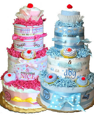 Boy or Girl Brown//Pink or Blue Lil/' Monkey 3 tier diaper cake Pampers Swaddlers