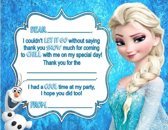 Frozen Elsa Olaf Birthday Party Thank You Note Cards Personalized