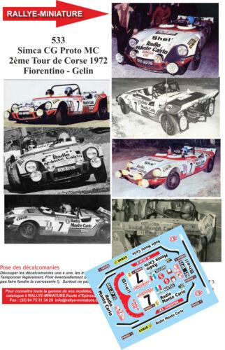 DECALS 1//43 REF 0533 SIMCA CG PROTO MC FIORENTINO TOUR DE CORSE 1972 RALLYE