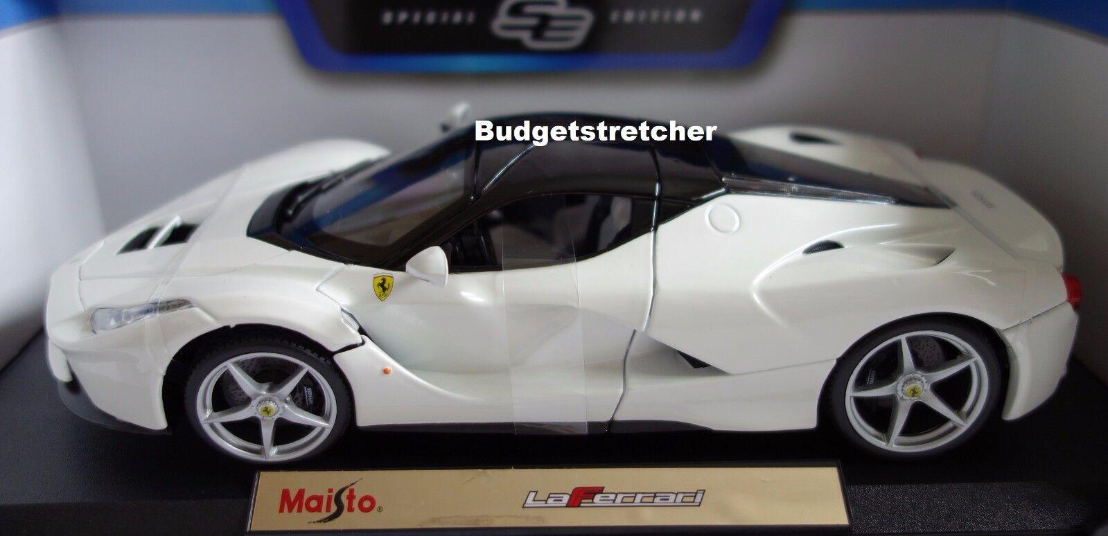 NEW MAISTO 1 18 Special Edition Diecast Car - LaFerrari La Ferrari in White RARE