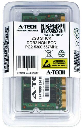 A-Tech 2GB PC2-5300 Laptop SODIMM DDR2 667 MHz 200pin Notebook Memory RAM 1x 2G