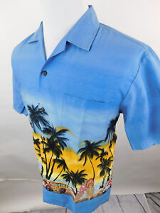 Winnie-Fashion-Men-039-s-Hawaiian-Short-Sleeve-Shirt-Blue-sz-Large-Palm-Trees-Surf
