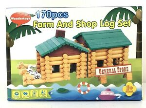 Wondertoys-170-Piece-Farm-and-Shop-Log-Set-for-Ages-3-Log-Building-Toy-NEW