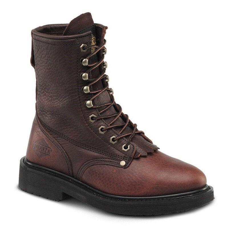 Para Hombre Marrón 8  Lengüeta Lacer Cuero Puntera De Acero botas De Trabajo BAT-817 (D, M)