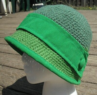 One of a Kind Smaller Green Crocheted Cloche Hat - Handmade by Michaela