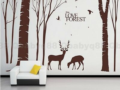 Giant Tree Forest deer Elk Bird Wall Stickers Vinyl Decal Decor art mural Branch