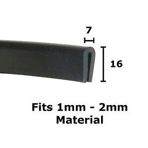 Medium BLACK Rubber U Channel Edging Trim Seal 1mm 2mm