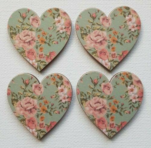 Handmade Set of 4 Wooden Heart Fridge Magnets Beautiful Vintage Floral Print