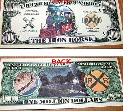 Iron Horse Train Million Dollar Bill Fake Funny Money Novelty Note FREE SLEEVE