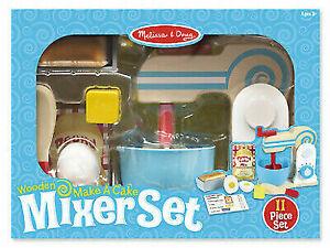 Melissa Doug Wooden Make A Cake Mixer Set Play Food Kitchen Baking S2