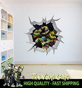 TEENAGE MUTANT NINJA TURTLES WALL CRACK wall art decor 001 Printed ...