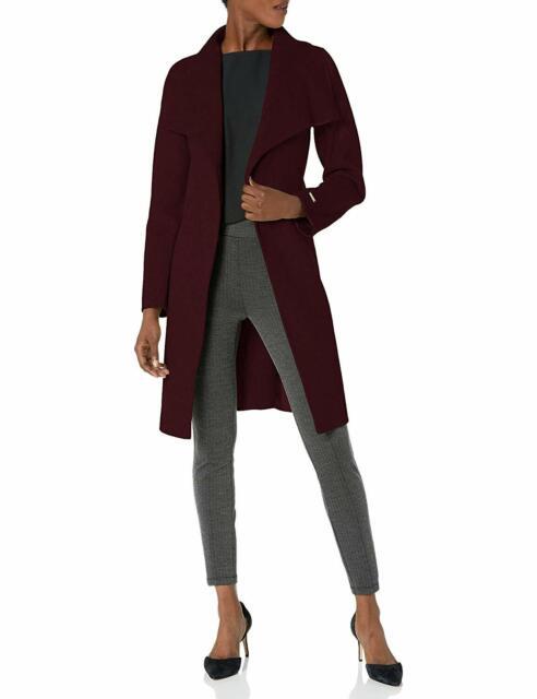 T Tahari Women's Double Face Wool Wrap Coat,Optional Self Tie Belt,Port Wine,M