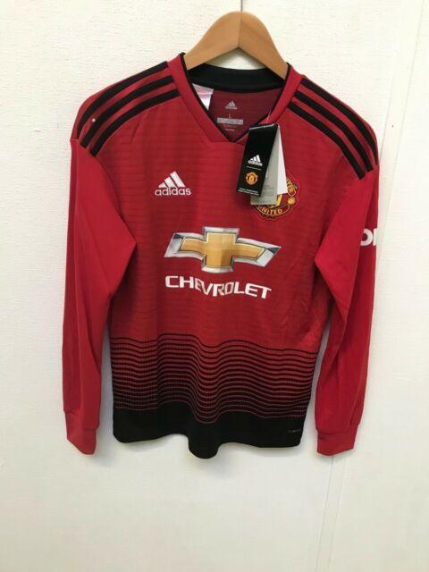 2d99a547b Kids 13-14 Yrs Manchester United Home Shirt 2018-19 LS Pogba 6 Badge ...