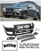 Evo X 10 Jdm Style Front Black Trim Bumper Cover Kit For 08-15 Mitsubishi Lancer