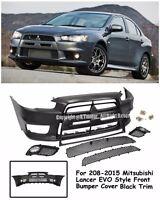 Evo X 10 Jdm Style Front Black Trim Bumper Cover Kit For 08-15 Mitsubishi Lancer