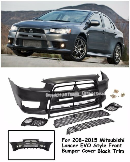 EVO X 10 JDM Style Front Black Trim Bumper Cover Kit For 08 15 Mitsubishi