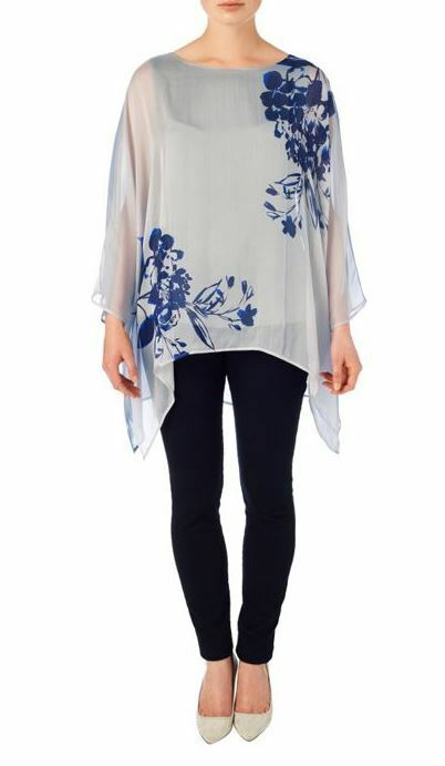 azulsa de impresión de seda seda seda PHASE EIGHT Cordelia BNWT 98c062