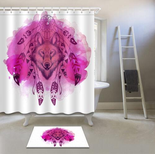 Dream Catcher Bohemia Wolf Bathroom Shower Curtain Waterproof Fabric 12 Hooks