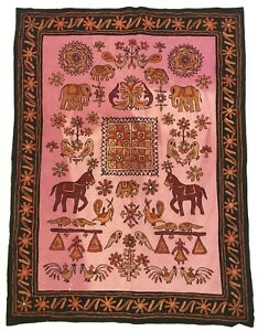 """Vintage Embroidered Wall Hanging Ethnic Folk Art 33.5""""x 44"""" Tapestry Rug"""