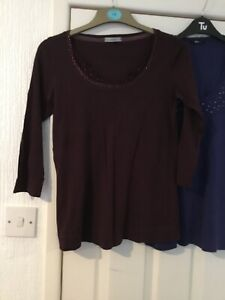 Two-Ladies-Size-14-Tops-M-amp-co-And-marks-Spencer-Burgundy-And-Blue