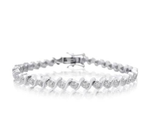 Platine de plus de 1//2 Carats Natural Diamond Tennis Bracelet R$ 299