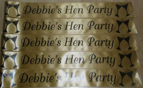 PERSONALISED HEN PARTY SASH PACK OF 12 MANY COLOUR CHOICES AVAILABLE L@@K!!!!