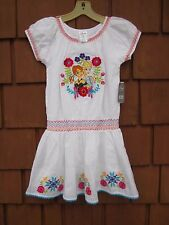 """""""Disney Store"""" Girls Dress White with Embroidery Floral & Princess's Sz. 7/8 NWT"""