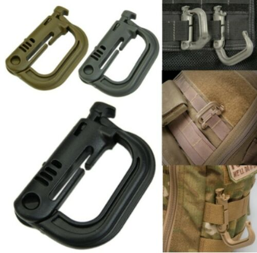 4pcs Shackle Carabiner D-ring Clip Molle Webbing Backpack Buckle Grimlock GP3