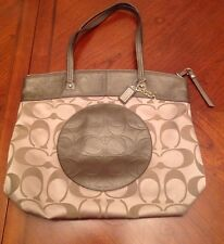COACH LAURA SIGNATURE SATEEN TOTE PURSE BAG F18335 KHAKI BROWN