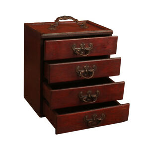 Red Wood Jewelry Drawer Box Storage Organizer Case Necklace Ring