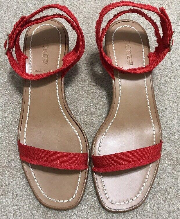J. Crew Grosgrain ribbon block-heel Sandale Fiery Sunset ROT 8.5 G4814 178