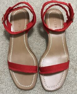 e83ad72b5a7 J. Crew Grosgrain ribbon block-heel sandals Fiery Sunset Red 8.5 ...