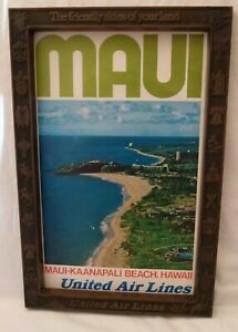 1970-s-UNITED-AIRLINES-HAWAII-MAUI-POSTER-amp-ADVERTISING-EMBOSSED-FRAME-ORIGINAL