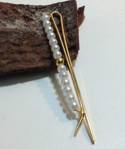 Haarspange mit 14 Kugeln aufgezogen GOLD Haarklammer Perle Perlen Imitat